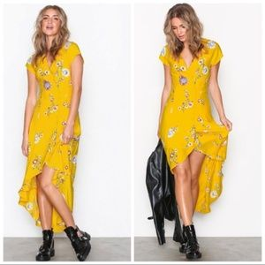 FREE PEOPLE Lost In You Midi Dress Yellow large